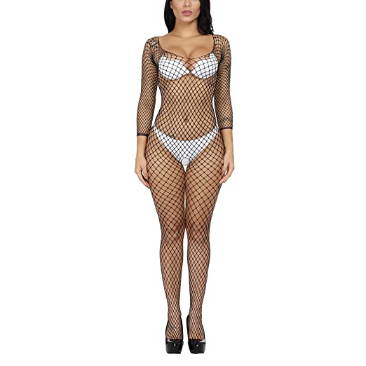 90792027bb Fishnet Bodystocking Plus Size Strapped Teddy Nightie Mesh Leotard Body Suit  Stocking Lingerie for Women (
