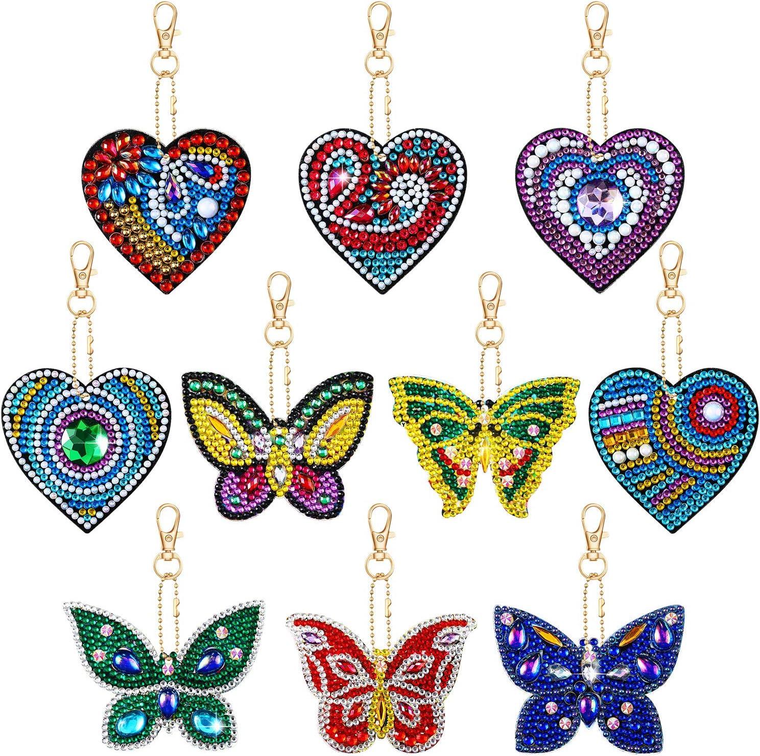 10 Piezas Conjunto de Llavero de Pintura de Diamantes Kits de Pintura de Diamantes 5D Adornos Colgantes de Pintura de Diamantes de Taladro Completo de Forma de Corazón y Mariposa para Llavero, Bolsa