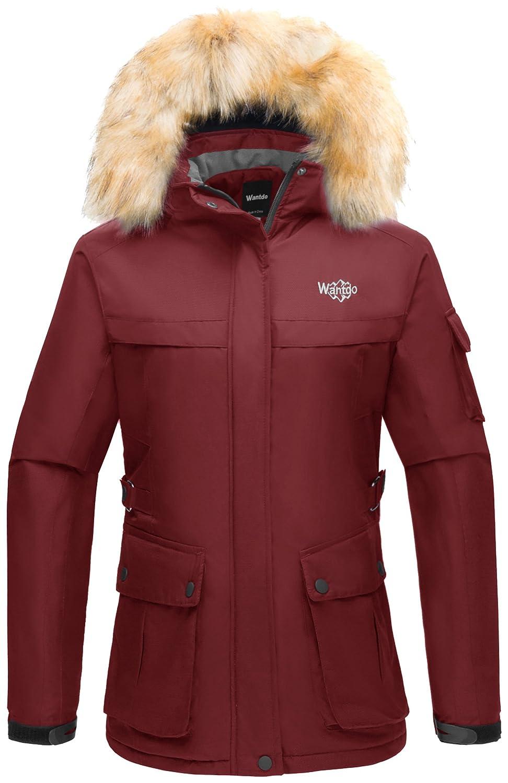 Wantdo Women's Winter Ski Jacket Hooded Waterproof Windproof Outdoor Sports Parka