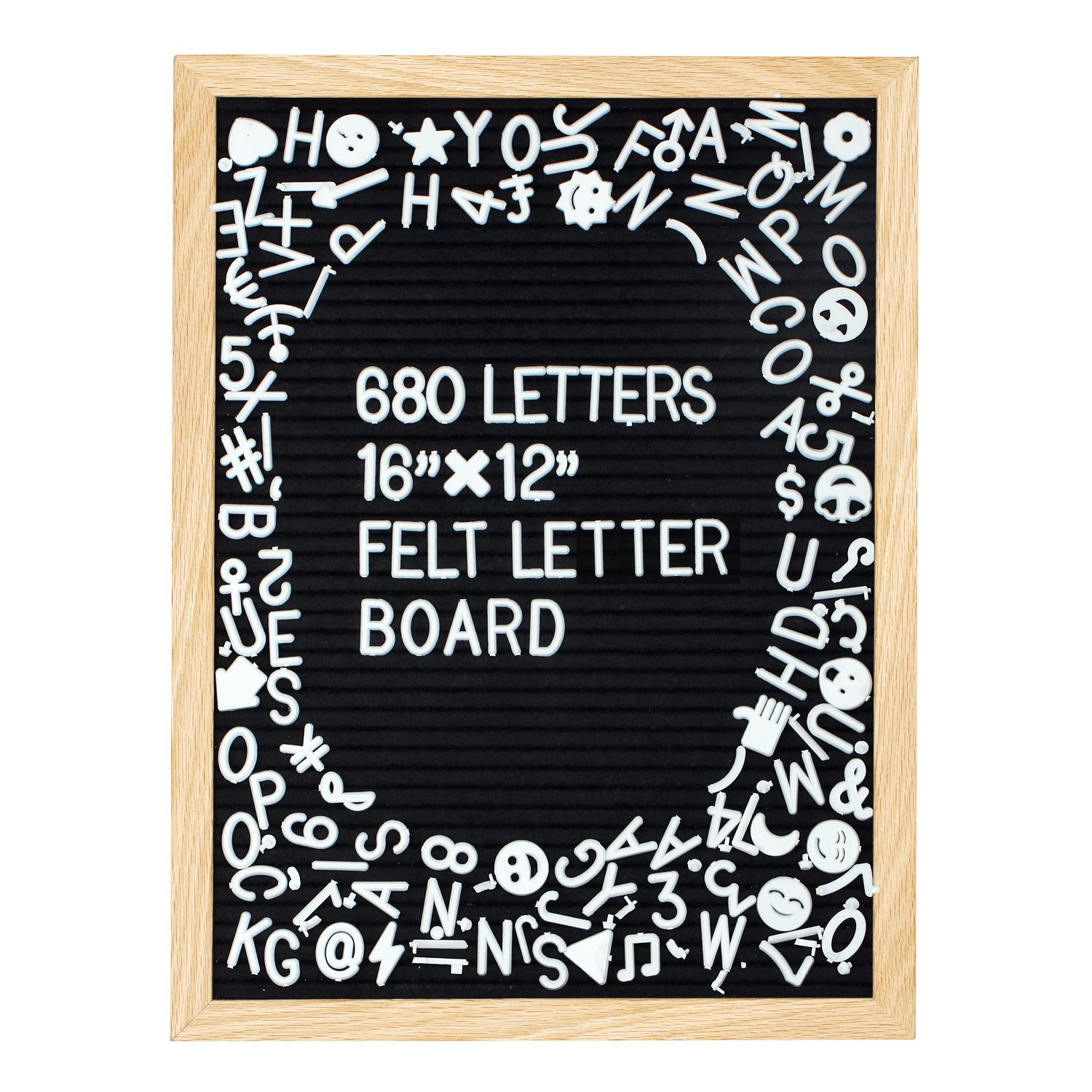 Black Felt Letter Board 12 x16 Inch, Large Changeable Letter Boards Include 680 White Plastic Letters & Oak Frame, Numbers,Symbols&Emojis with Plus Free Letter Bag