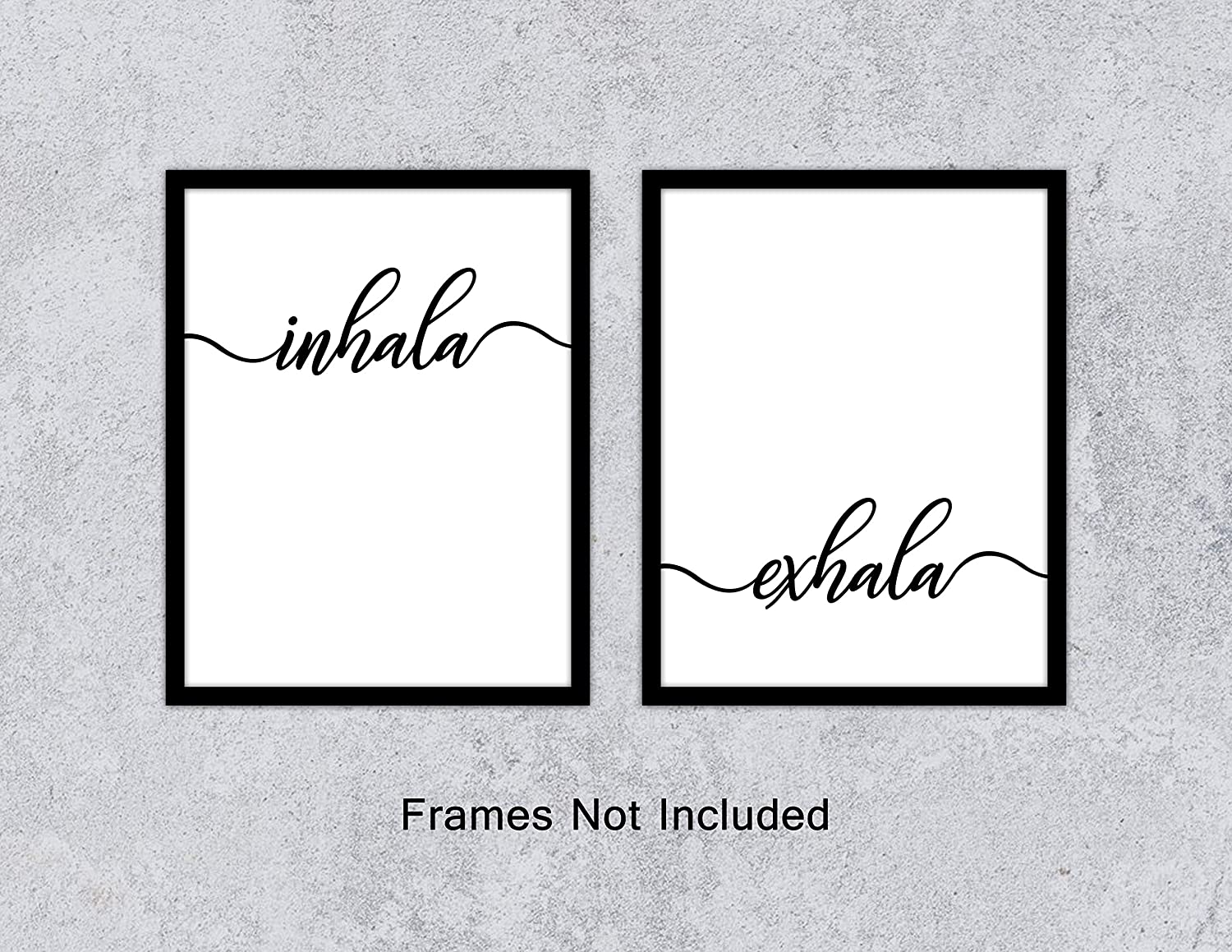Inhale exhale art print set of 2 11x 14 in spanish black and white yoga wall art prints zen print wall art posters for bedroom home decor