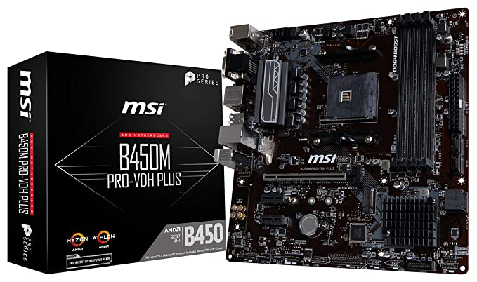 Amazon.com: MSI ProSeries AMD Ryzen 1st and 2ND Gen AM4 M.2 USB 3 DDR4 D-Sub DVI HDMI Micro-ATX Motherboard (B450M PRO-VDH Plus): Computers & Accessories