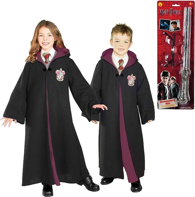 Harry Potter Gryffindor Robe gafas y varita disfraz de niño Bundle ...