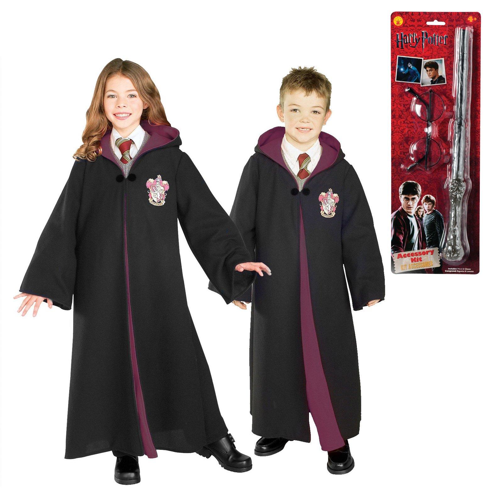 Harry Potter Gryffindor Robe Glasses and Wand Child Costume Bundle Set Medium by BirthdayExpress