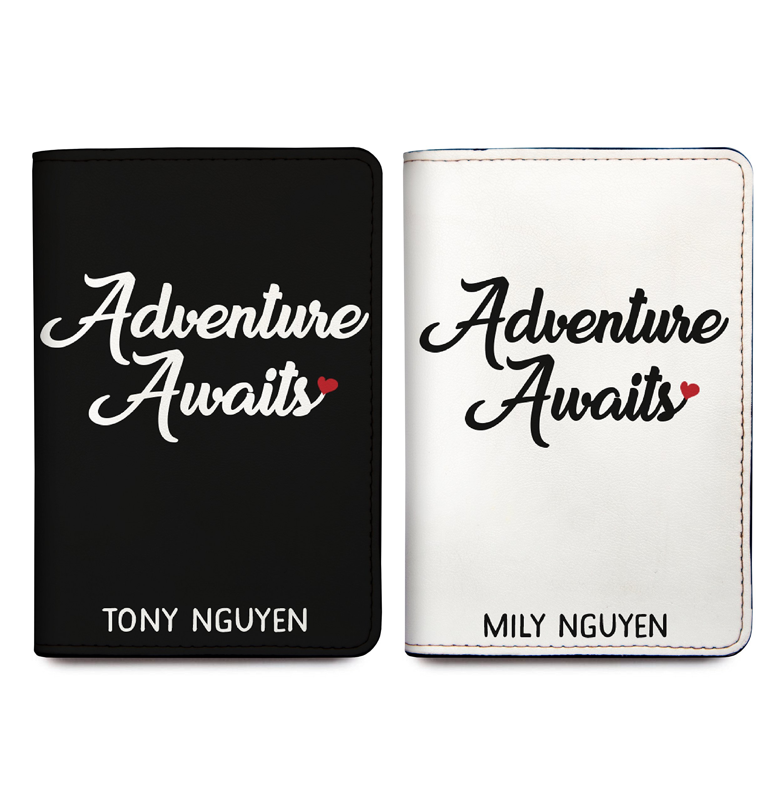 Adventure Awaits - Couple Passport Holder Personalized Passport Cover Set of 2