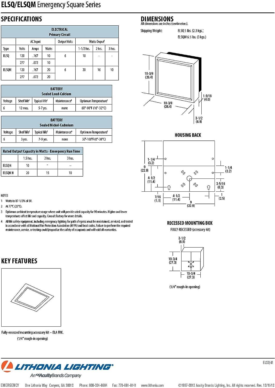 White Lithonia Lighting ELSQ 2 Lamp 10W Incandescent Emergency Lighting Unit