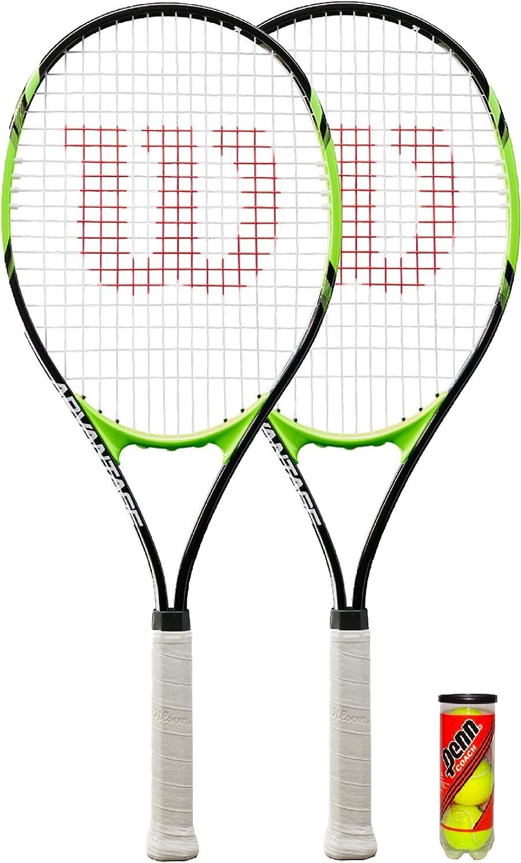 Wilson Juego de 2 raquetas de tenis tama/ño XL, 3 pelotas