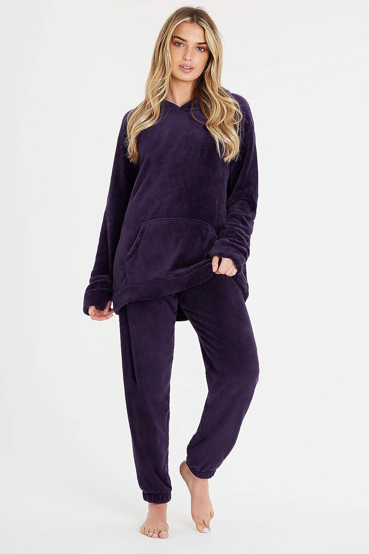 tallas S-XXL Balancora manga larga para invierno c/álido Pijama para mujer con forro polar interior