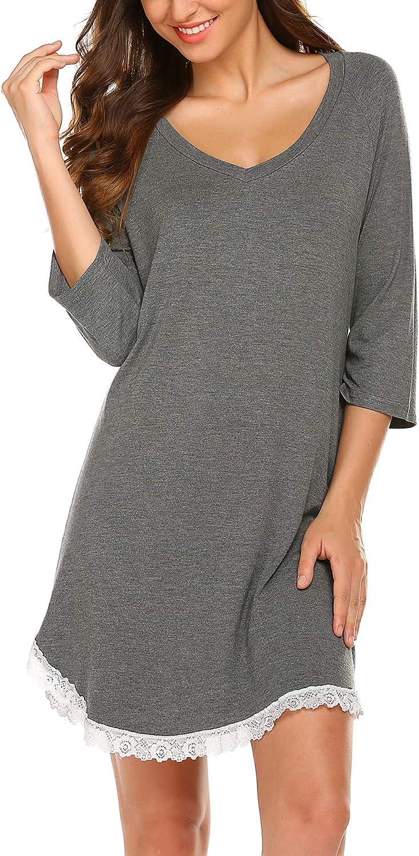 S-XXL Ekouaer Nightgowns Womens Modal Night Shirts Sleeveless Tank Sleep Dress with Lace Trim