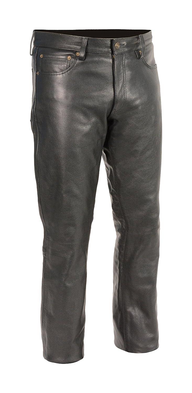 Milwaukee Leather Men's Premium Leather Pants (Black, Size 34) (S) Shaf International Inc. LKM5790-BLK-34