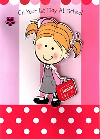 Girl good luck your first day at school greeting card girl starting girl good luck your first day at school greeting card girl starting school cards m4hsunfo