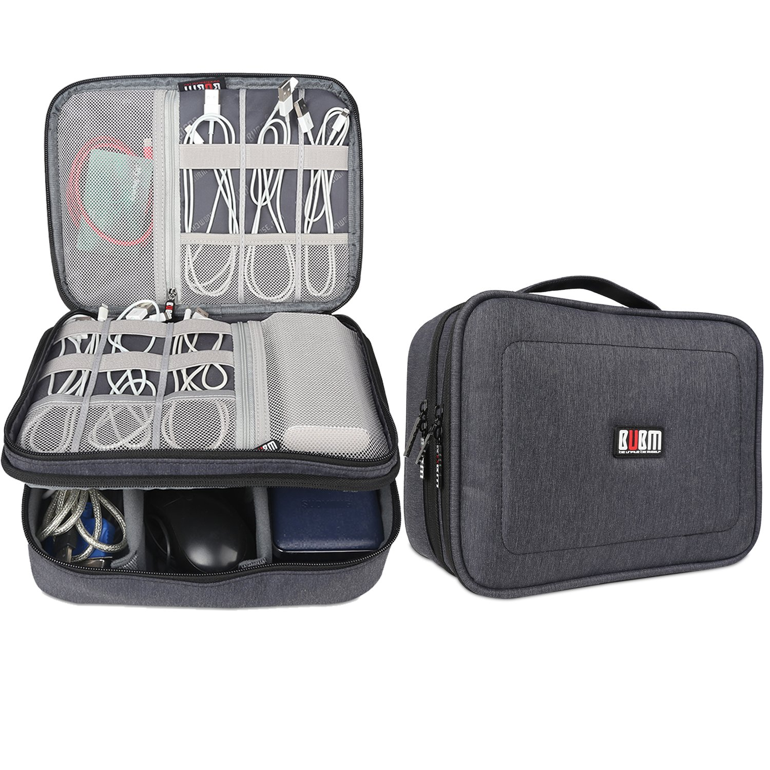 BUBM Electronic Organizer, Double Layer Travel Accessories Storage Bag for Cord, Adapter, battery, Camera and More-a Sleeve Pouch for iPad or up to 9.7'' Tablet(Large, Black)