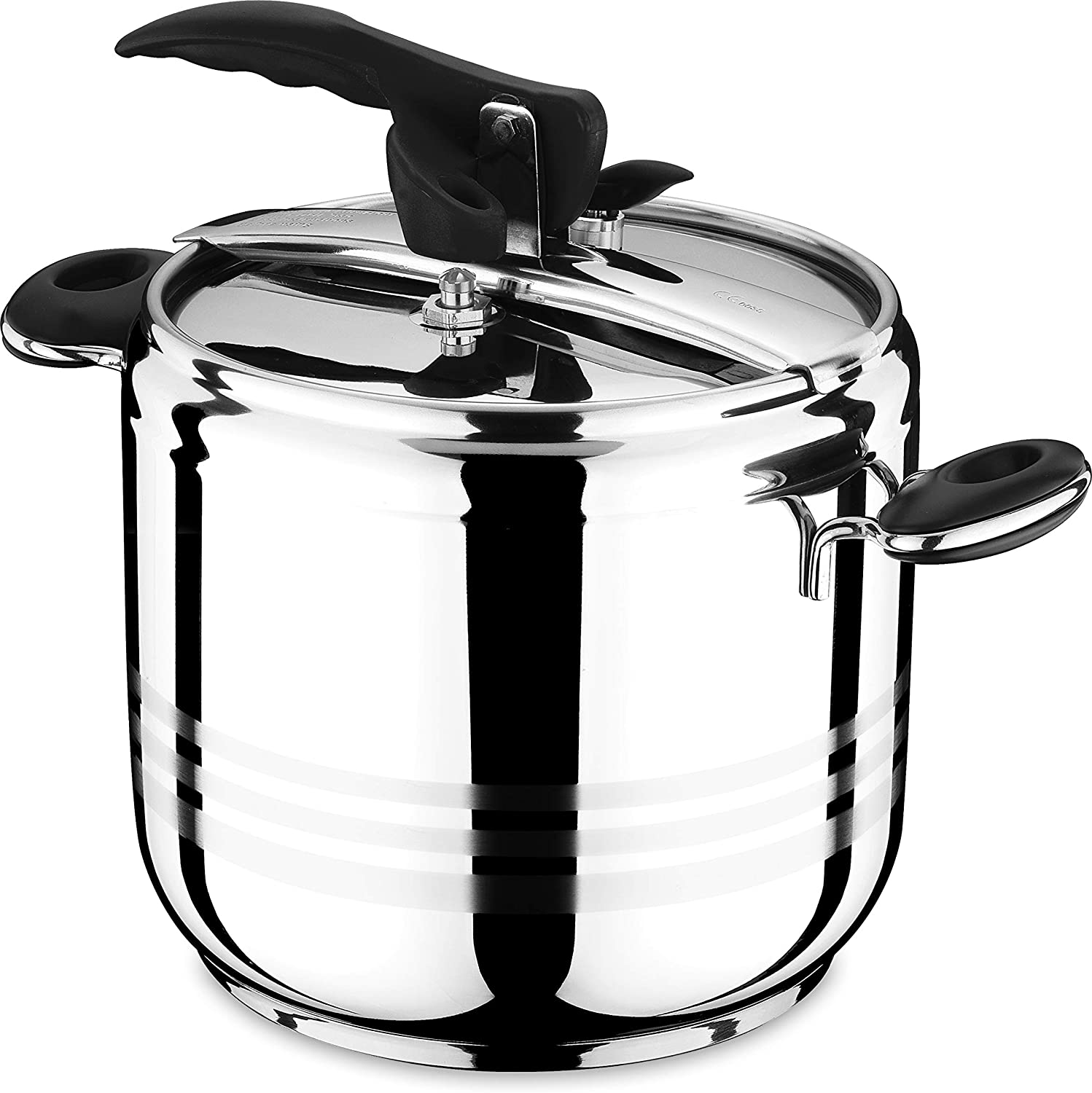 Esila Black Stainless Steel Stockpot Induction Base Pressure Cooker 5L 7L/9