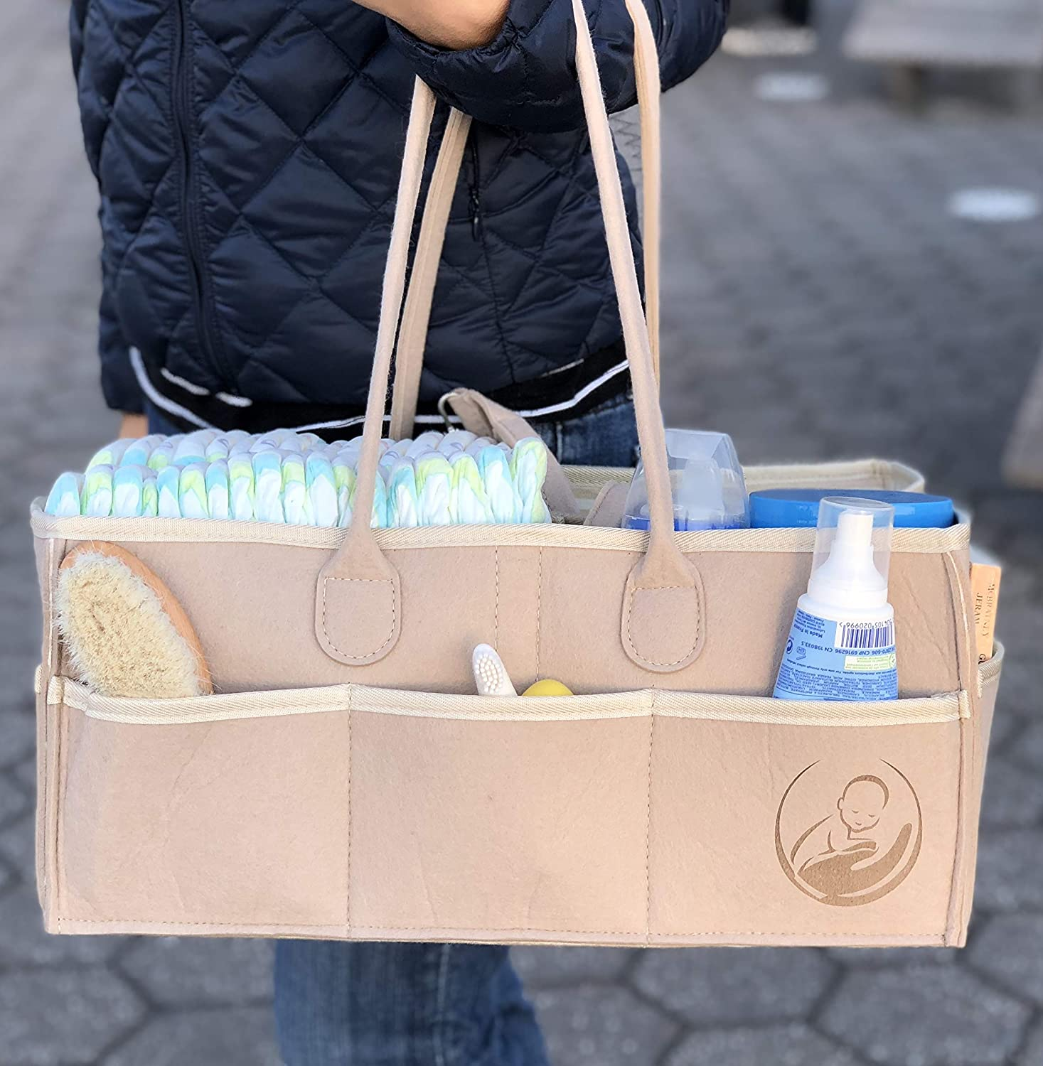 diapers /& cream |Baby Shower Registry Must Have ProBabyGear Baby Diaper Caddy Organizer Bag -Organic Cotton Lining Essential for Changing Station Table Hypoallergenic Nursery Storage Bin Ex Large for wipes