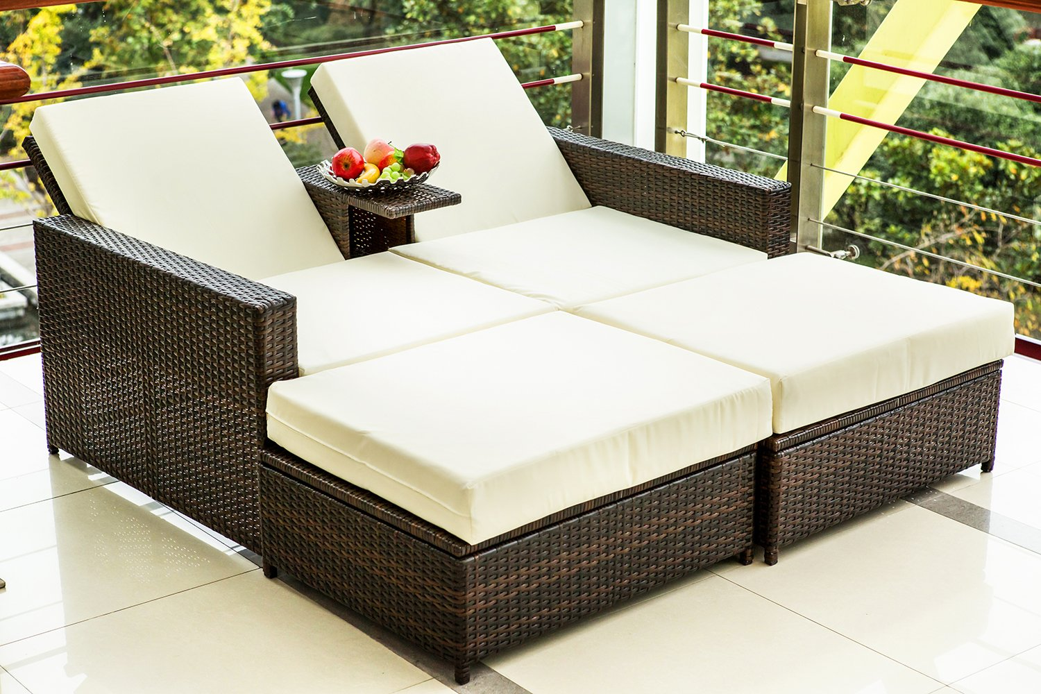 Merax 3 PC Outdoor Rattan Patio Furniture Wicker Sofa/Bed Sectional Lounge Furniture Set