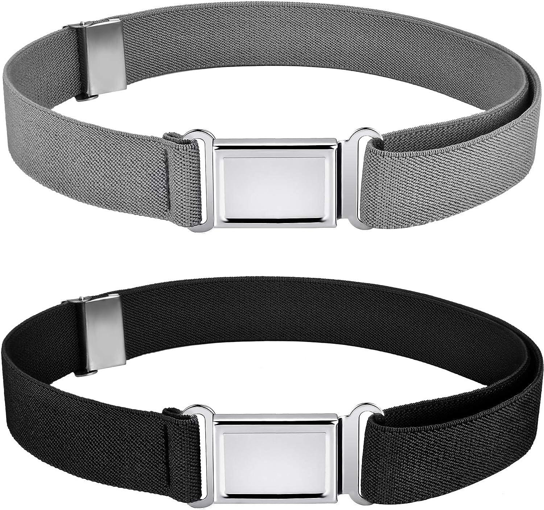 Kids Magnetic Belt Adjustable Elastic Belt with Magnetic Buckle for Boys Daily Use Girls (Color Set 2, 2)