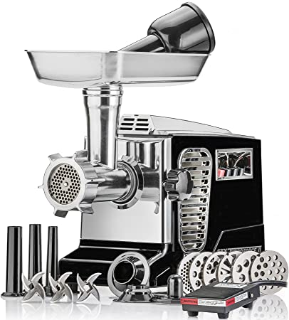 Electric Meat Grinder – Size 12 – Model STX-4000-TB2-PD – STX International Turboforce II – Air Cooling Patent – Foot Pedal Control, 6 Grinding Plates, 3 Cutting Blades, Kubbe Sausage Tubes – Black