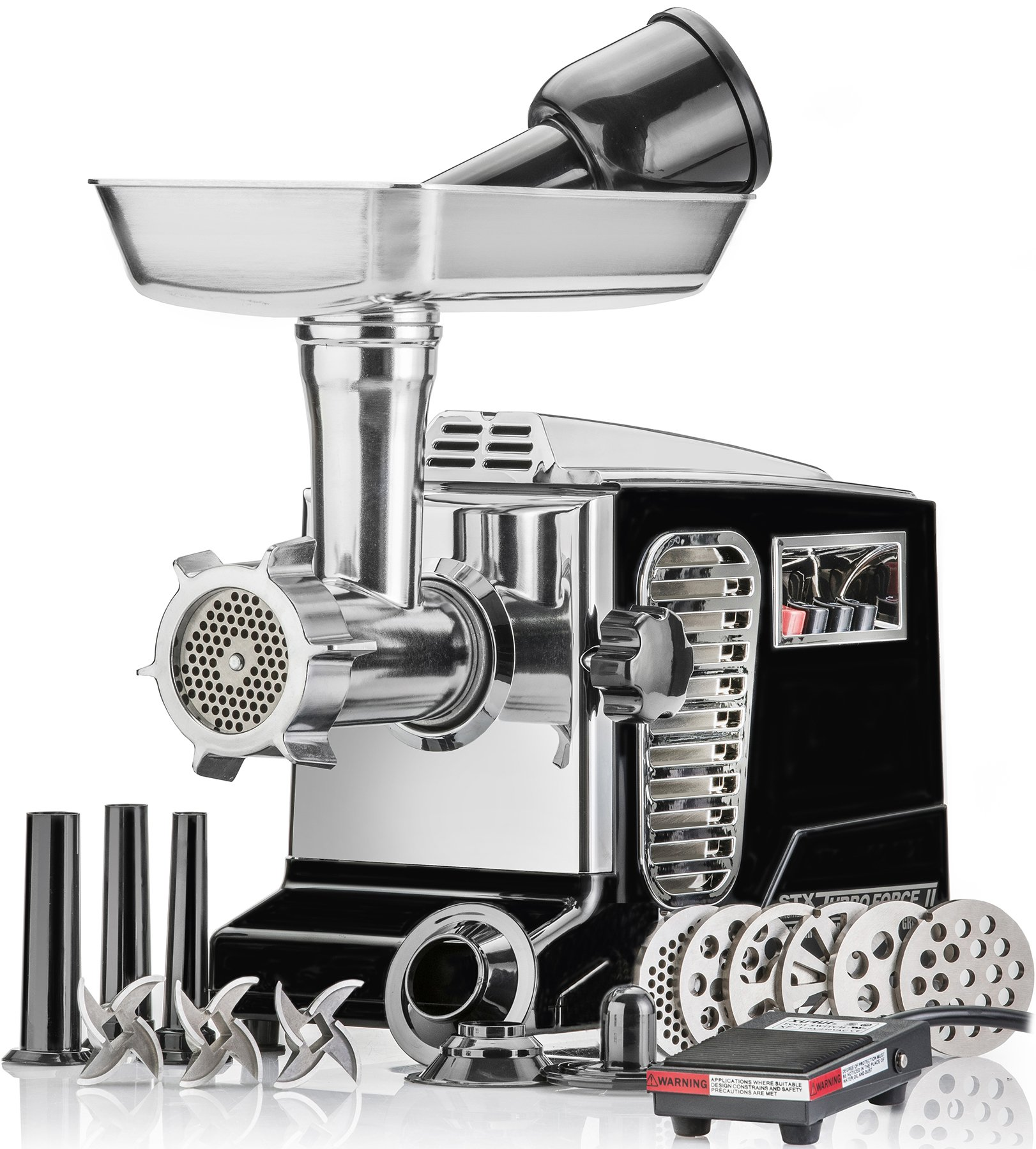 Electric Meat Grinder - Size #12 - Model STX-4000-TB2-PD - STX International Turboforce II - Air Cooling Patent - Foot Pedal Control, 6 Grinding Plates, 3 Cutting Blades, Kubbe & Sausage Tubes - Black by STX INTERNATIONAL