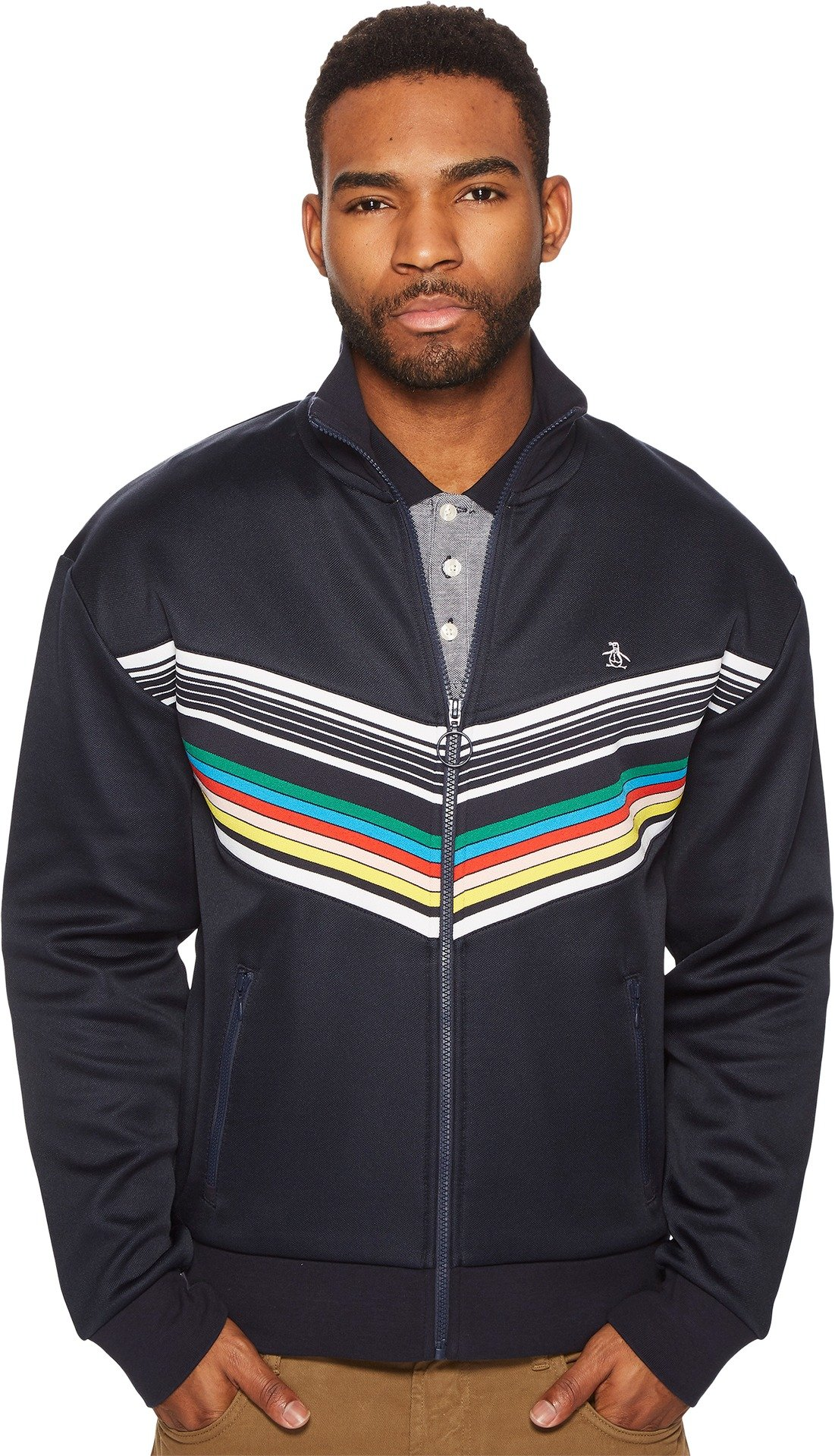 Original Penguin Men's Striped Print Track Jacket, Dark Sapphire, Extra Large