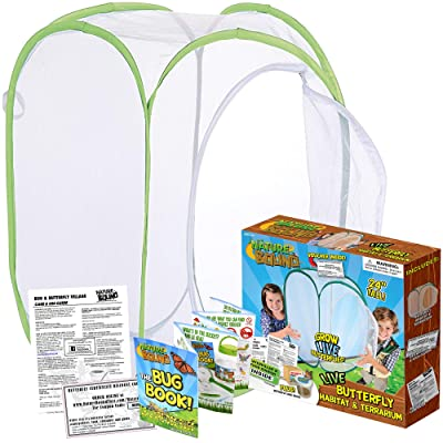 Nature Bound Toys Butterfly Garden Habitat & Terrarium, 24 Inches Tall with Large Zipper Larvae Coupon Included in Kit: Toys & Games