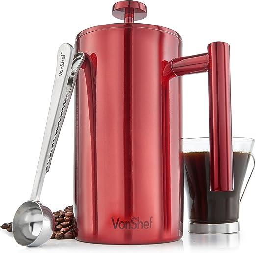 VonShef Cafetera Roja de Acero Inoxidable con Acabado Satinado con ...