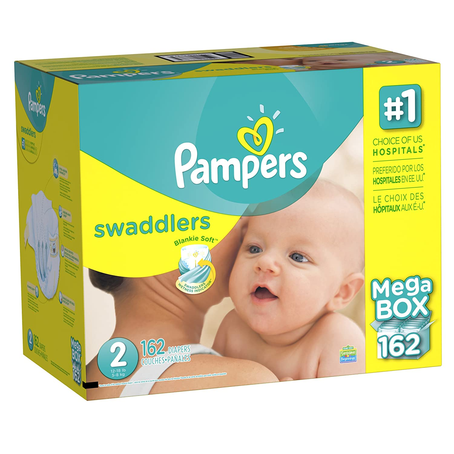 Amazon.com: Pampers Swaddlers Diapers, Size 2 (12-18 lbs.), 162 ct ...