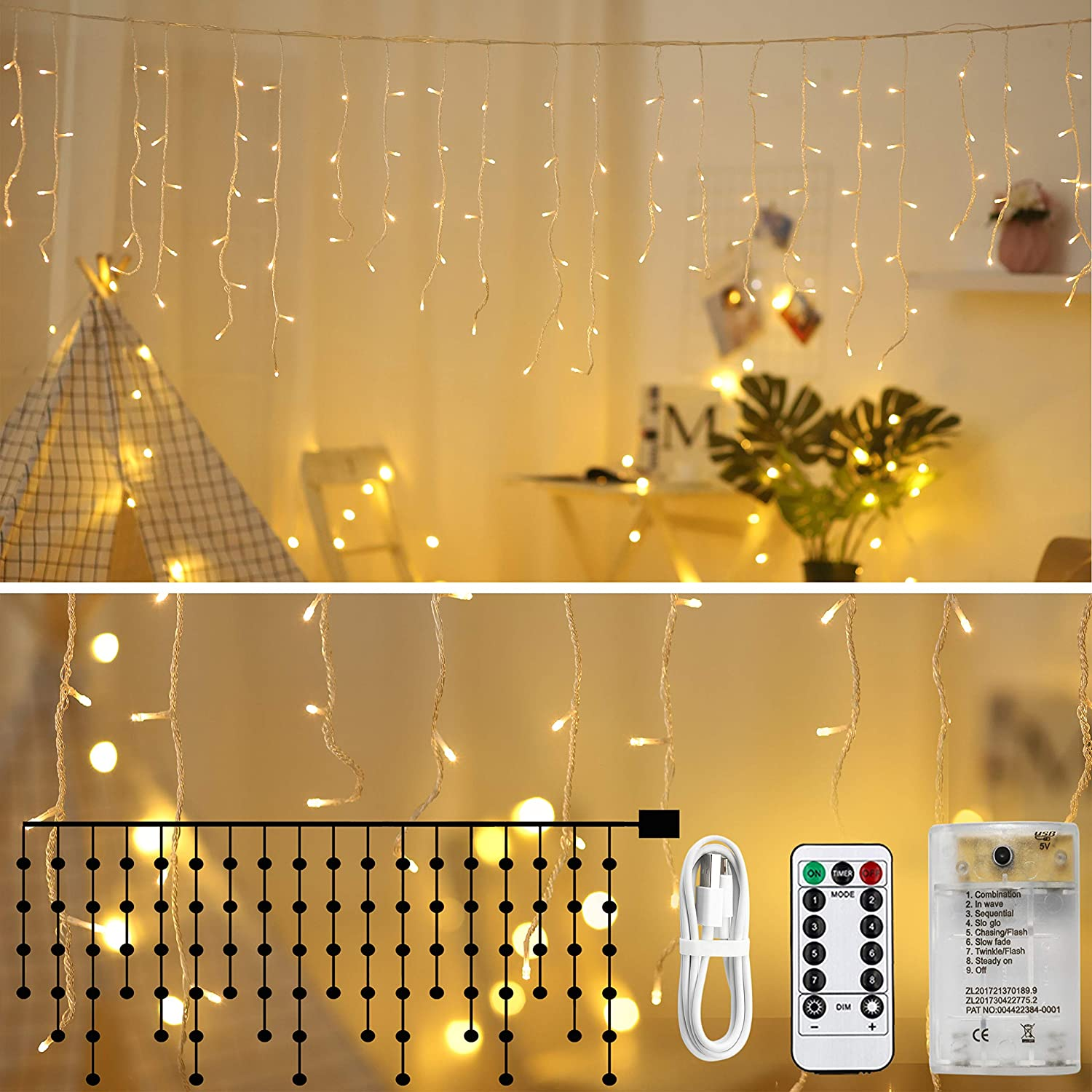 Zhuohao LED Icicle Lights, 10Ft 90 LED Window Curtain String Light, Waterproof Fairy String Lights for Indoor Outdoor Home Garden Wall Decorations, 8 Modes RC, USB Battery Powered, Warm White