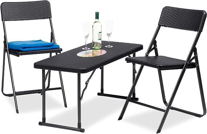 Relaxdays, Noir Meubles de Jardin Set 3 Pièces Pliant 1 Table Hauteur  Réglable 2 Chaises Rotin 74x100x43,5cm, synthétique