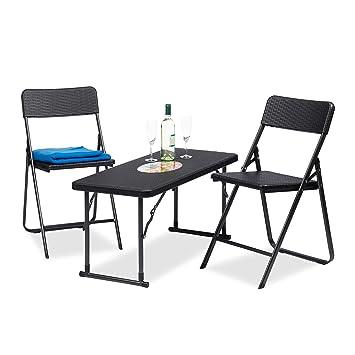 Entzuckend Relaxdays Gartenmöbel Set Klappbar, 3 Teilig, Polyrattan, Tisch  Höhenverstellbar, H X B