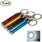 WAYLLSHINE 4 Packs (4 Colors) Mini Led Keychain Flashlight Micro Led keychain flashlight Small Keychain Flashlight(White Beam)