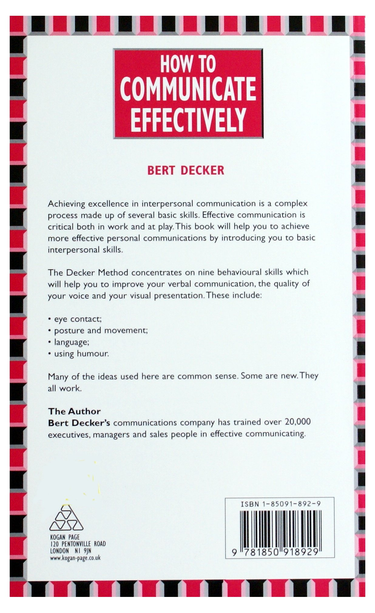 How to communicate effectively amazon bert decker how to communicate effectively amazon bert decker 9781850918929 books fandeluxe Images