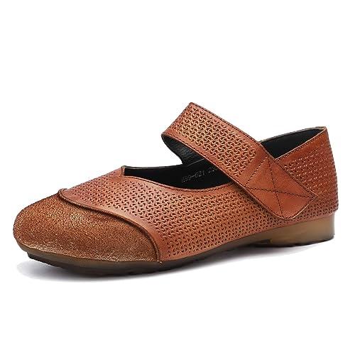 Zapatos Planos cómodos de Suela Blanda para Mujer Mocasines de Piel de Vaca de la Vendimia