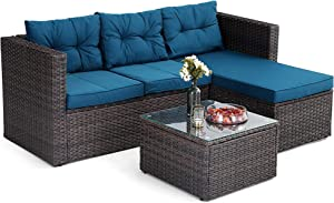 PHI VILLA Outdoor Rattan Sectional Sofa- Small Patio Wicker Furniture Set (3-Piece, Turquoise)