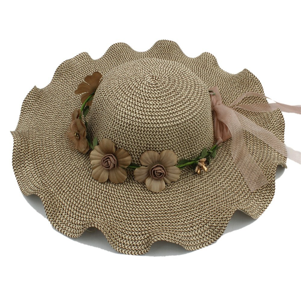 Douhuayu Women Ladies Wide Brim Elegant Flower Cap Big Waves Summer Fashion Hawaii Beach Travel Vintage Floppy Straw Hat (Color : Coffee, Size : 58cm)