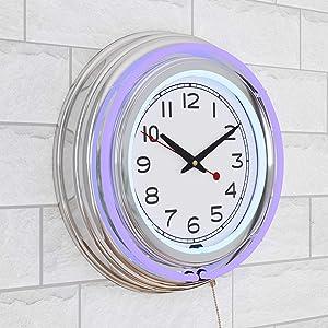 Lavish Home Retro Neon Wall Clock - Battery Operated Wall Clock Vintage Bar Garage Kitchen Game Room