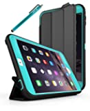 iPad Mini 4 Case, Style4U Slim Fit Dual Layer Hybrid Armor Protective Case Cover for Apple iPad Mini 4 with 1 Stylus [Blue]