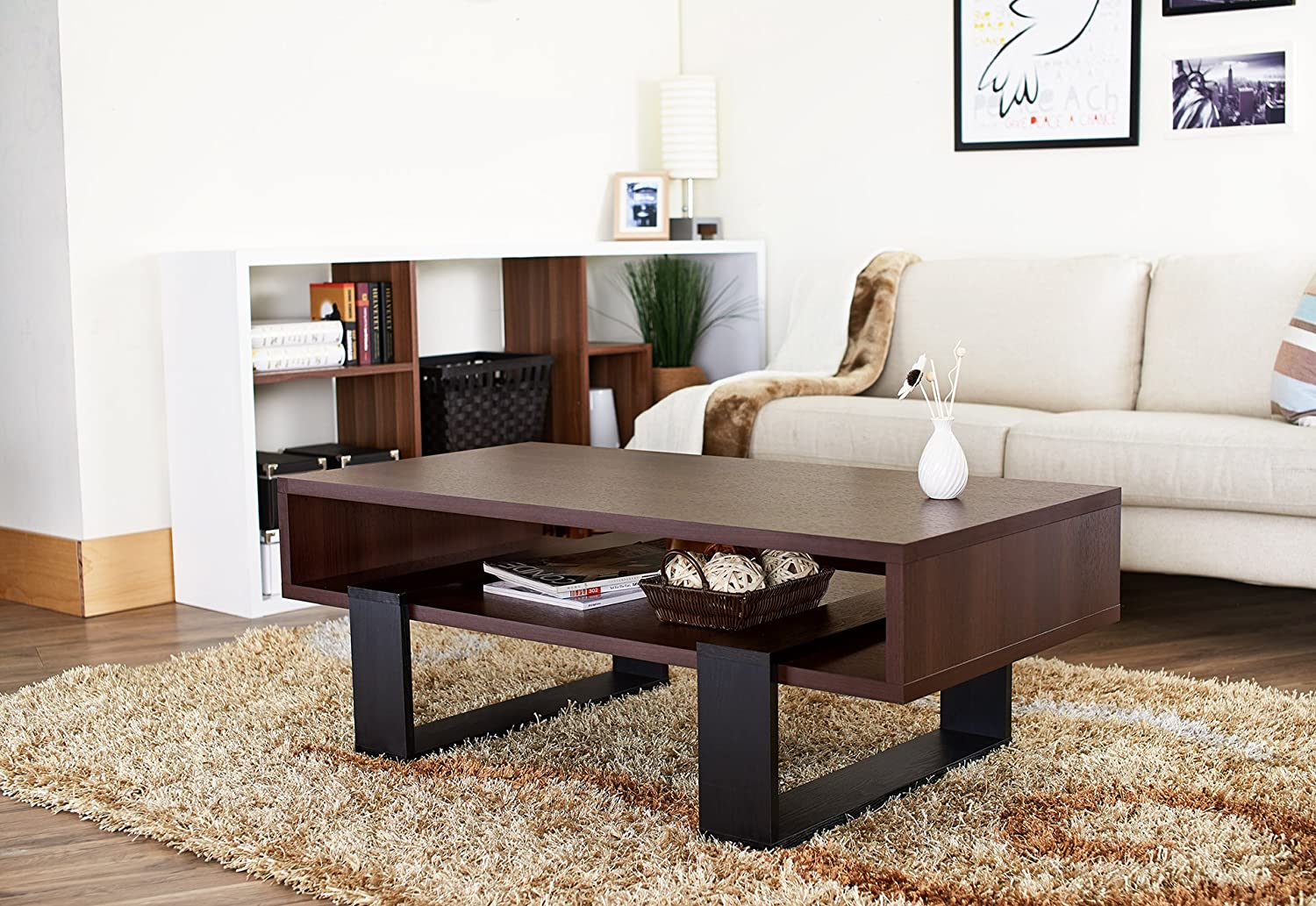 Amazon.com: HOMES: Inside + Out IoHOMES Monroe Rectangular Coffee Table,  Walnut And Black: Kitchen U0026 Dining