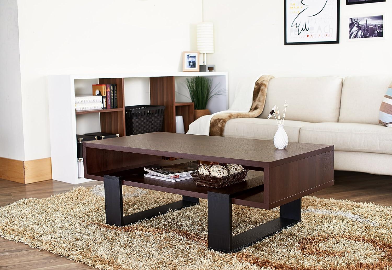 Amazon.com: ioHOMES Monroe Rectangular Coffee Table, Walnut and ...