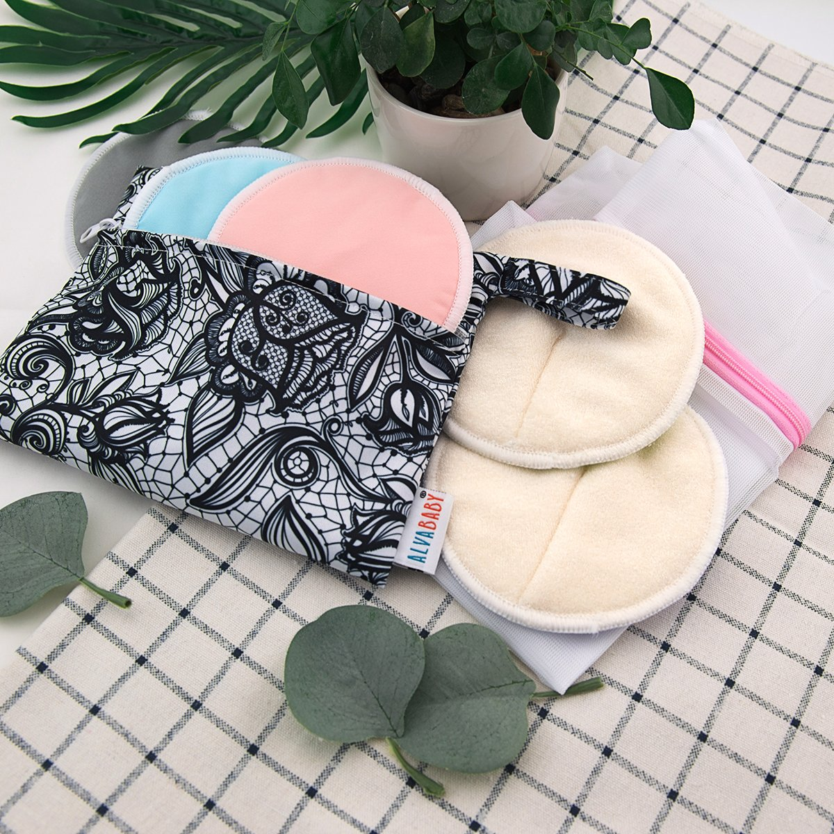 ALVABABY Bamboo Nursing Pads, 16 Pcs Breastfeeding Pads, Reusable & Washable & Soft & Absorbent & Leak-Proof, with One Cloth Wet Bag and One Laundry Bag(16RDB) by ALVA (Image #2)