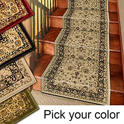 Amazon.com: Marash Luxury Collection 25' Stair Runner Rugs Stair Carpet Runners (Ivory): Kitchen & Dining