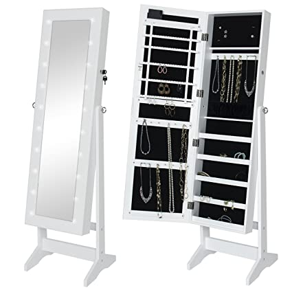 Etonnant Best Choice Products LED Lighted Mirrored Jewelry Cabinet Armoire W/Stand   White