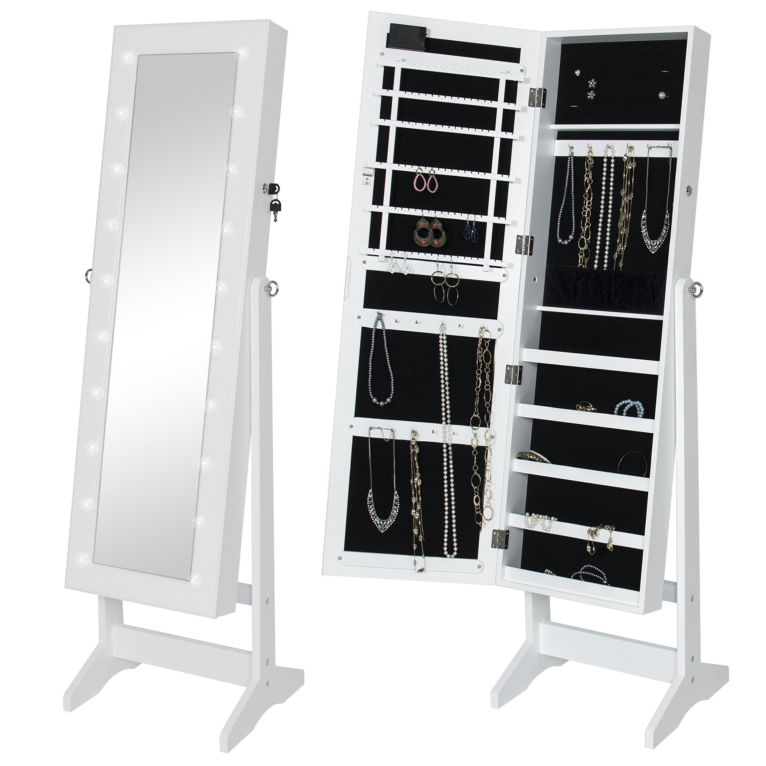 Best Choice Products LED Lighted Mirrored Home Decor Cabinet Armoire W/Stand- White
