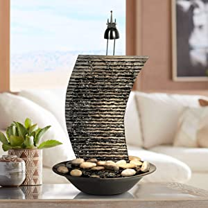 "Water Ripple Japanese Zen Indoor Table-Top Water Fountain with Light 17 1/4"" High Waterfall for Table Desk Office Home Bedroom Relaxation - John Timberland"