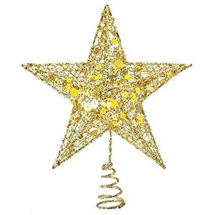 Resinta Metal Glittered Christmas Tree Topper Hallow Wire Star Topper For Christmas Tree Ornament Gold
