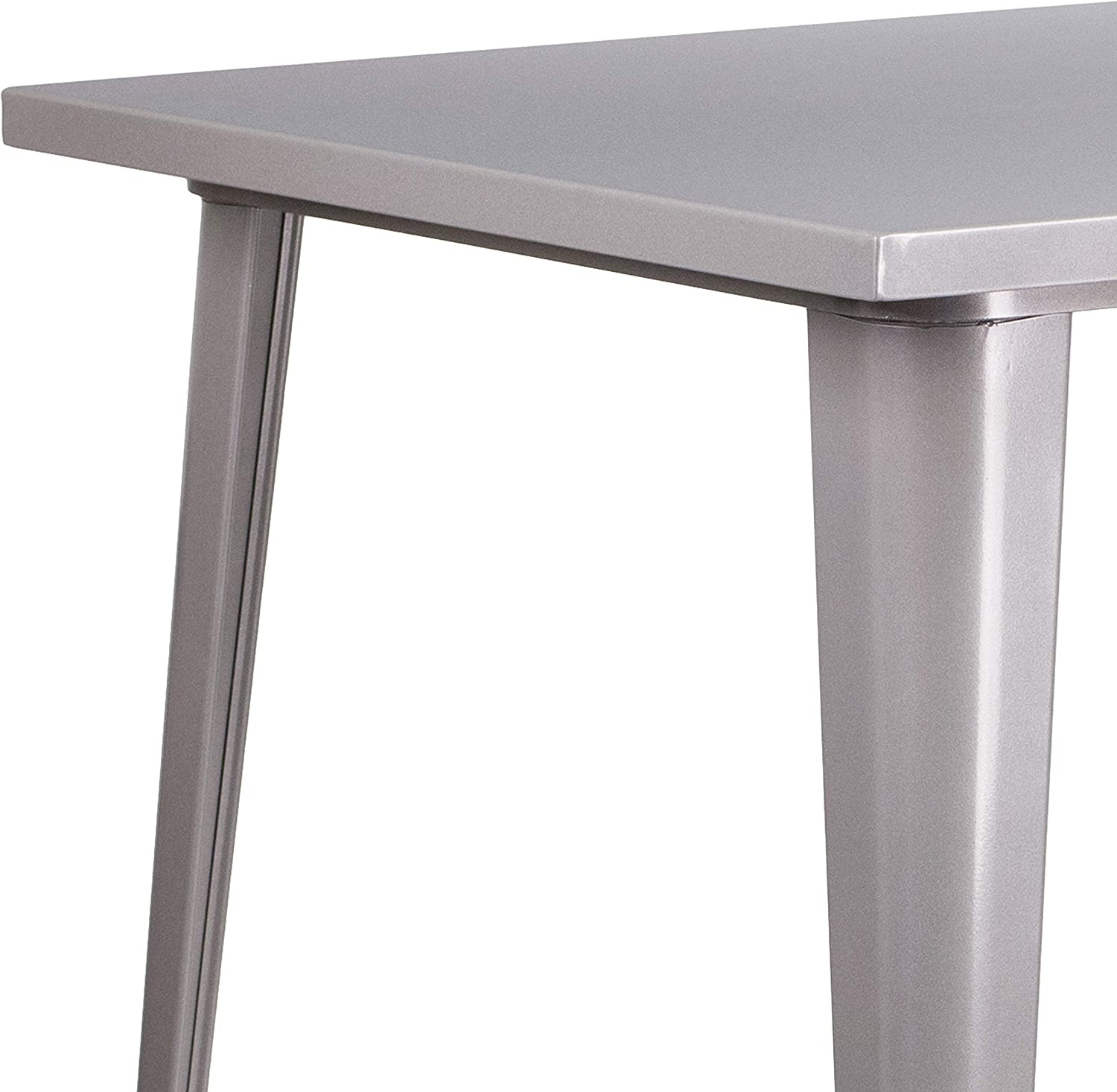"""Flash Furniture Commercial Grade 31.5"""" Square Silver Metal Indoor-Outdoor Bar Height Table: Furniture & Decor"""