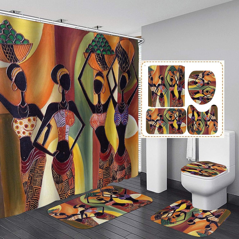 Fashion/_Man 16PCS//Set African Woman Shower Curtain Fabric Cloth Polyester Bath Curtain Waterproof Bathtub Curtains Style 1 Bathroom Rugs Bath Mat Afro Girl Egyptian Lady Bathroom Decor 72x72