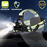 Rechargeable Headlamp LED Rechargeable Headlight–Cireau Brightest 6000 Lumen USB Rechargeable Headlamp Best Headlamp Flashlight for Bicycle Camping Running with 6 Red Light Green Reflective Headband