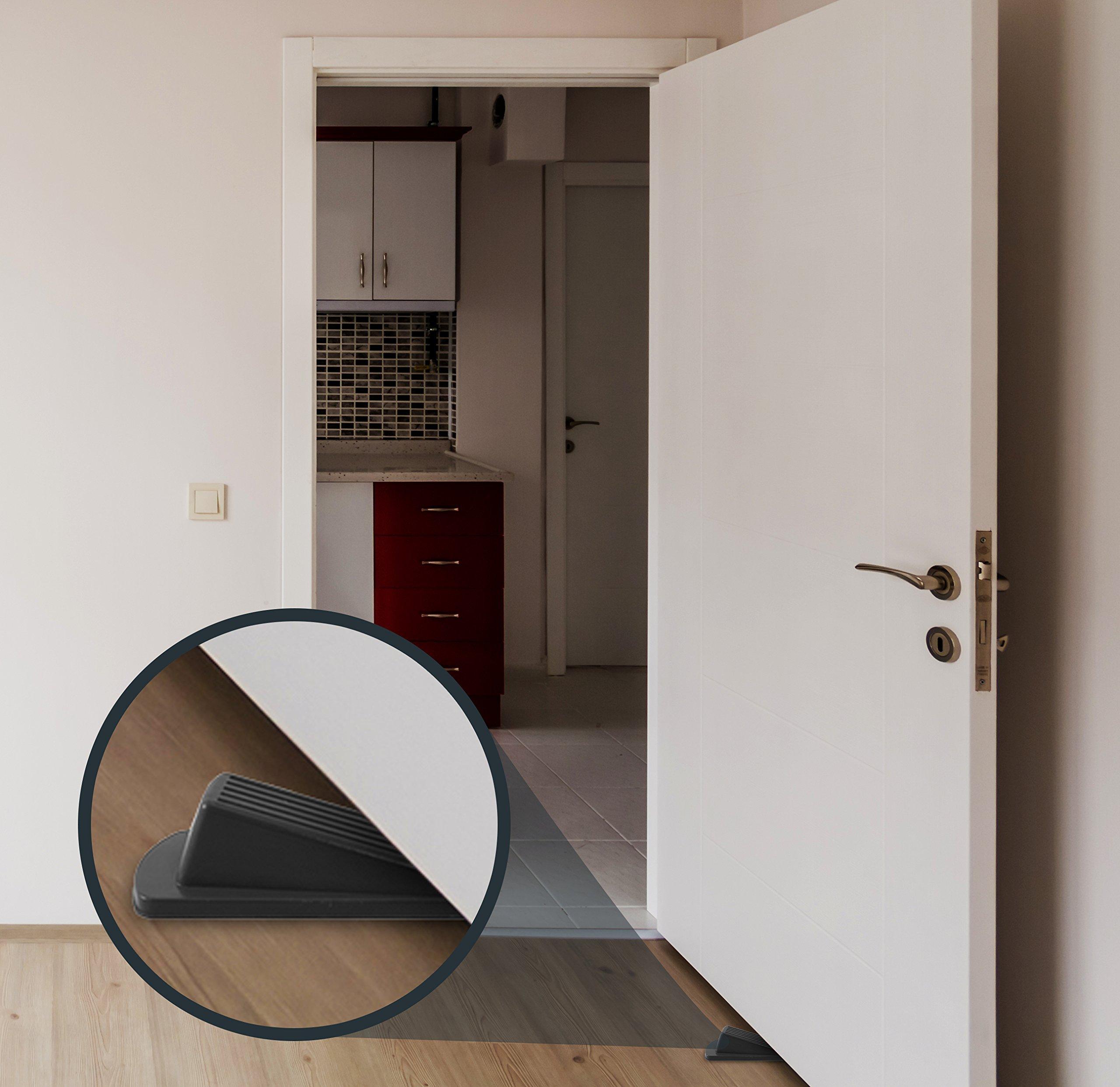 Home Premium Rubber Door Stop - Large Door Stopper Wedge, Multi Surface Design (4 Pack, Black) by HOME PREMIUM (Image #6)