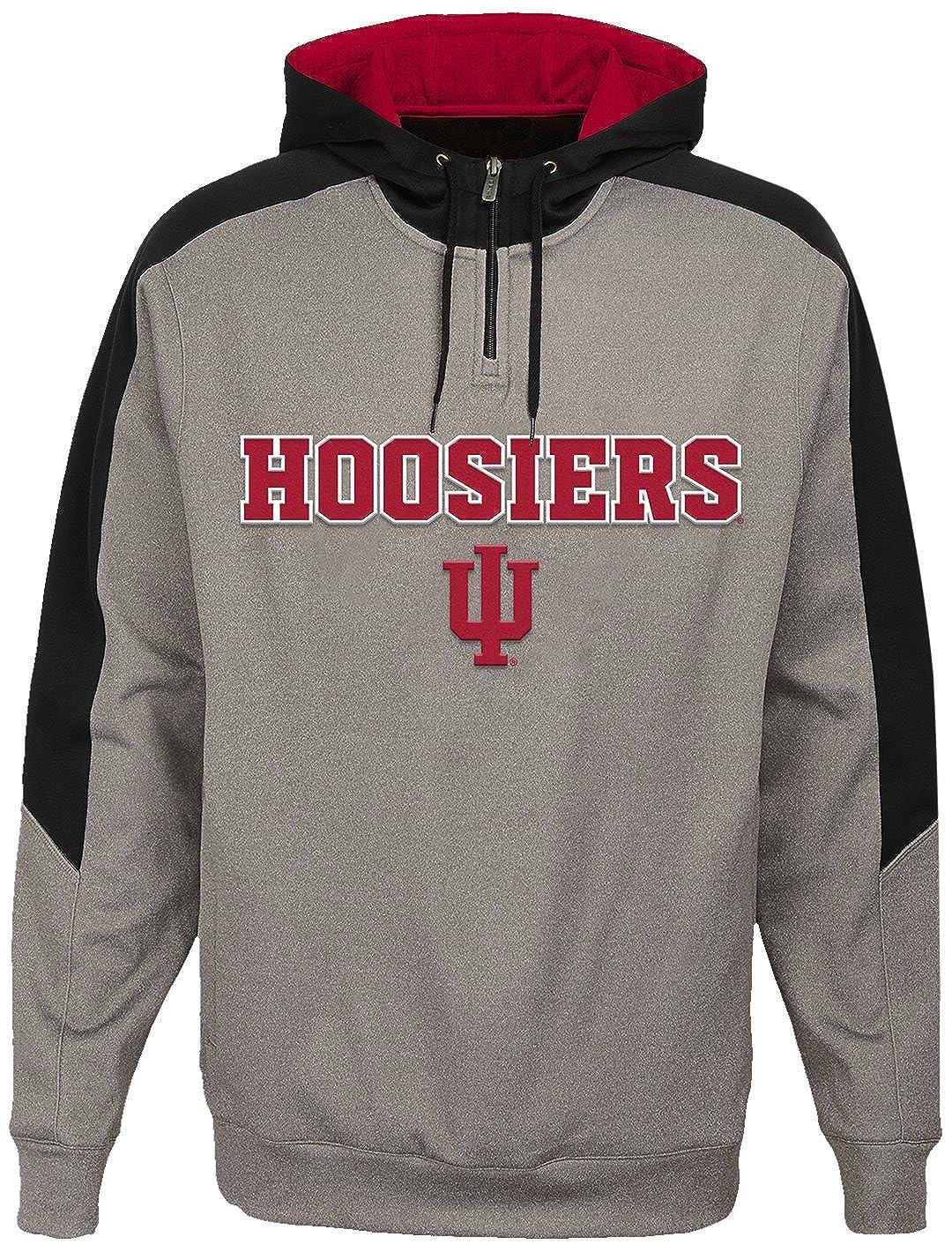NCAA Indiana Hoosiers Mens Outerstuff Illustrious 1//4 Zip Hoodie Fleece X-Large Light Charcoal