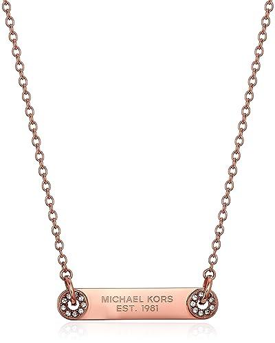 9c374b072d89 Amazon.com  Michael Kors Iconic Haute Hardware Gold-Tone and Pave Logo  Grommet Pendant Necklace